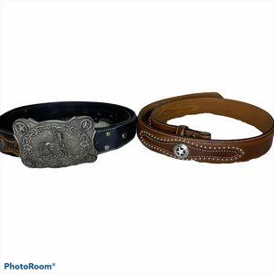 2 Nocona Black & Brown Leather Belts Horse Buckle